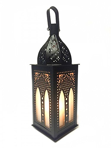 Orientalische Laterne aus Metall & Glas Asrar 29cm | orientalisches Windlicht | Marokkanische Glaslaterne für innen | Marokkanisches Gartenwindlicht für draußen als Gartenlaterne (Große Marokkanische Laterne Kerze)