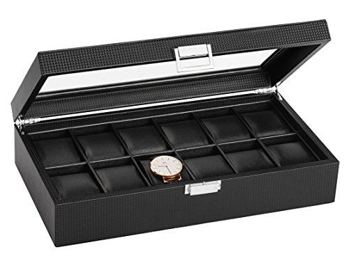 SWEETV Uhrenbox für 12 Uhren Schwarz Uhrenkoffer Kohlefaser Uhrenkasten Uhrenschatulle Schmuckkästchen Uhrenaufbewahrung