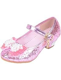 Yy.f YYF Fille Ballerine Chaussures à Talon à Déguisement Princesse avec  Nœud Papillon Paillettes 625da76d7159