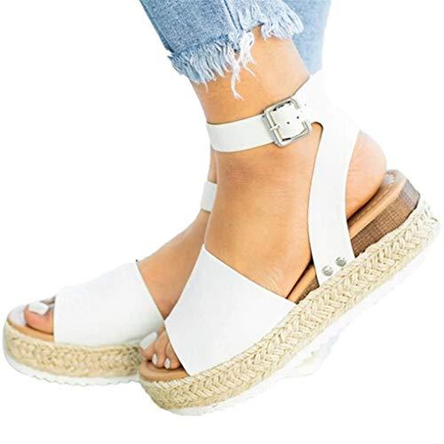 n Bast Plateau/Dorical Frauen Keilsandalette | Bequeme | Plateau Sandalette | Party Schuhe | Damenschuhe Sandalen & Sandaletten Keilsandaletten 35-43 EU(Weiß,39 EU) ()