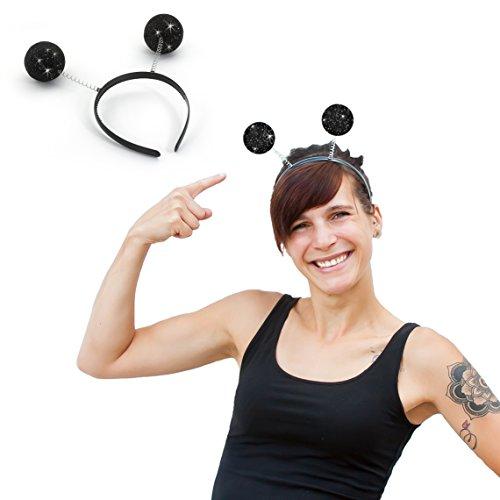 Oblique Unique® Haarreifen Schwarze Glitter Glitzer Antenne Kugeln I Kostüm Accessoire I Headbands Hats Caps & Headwear