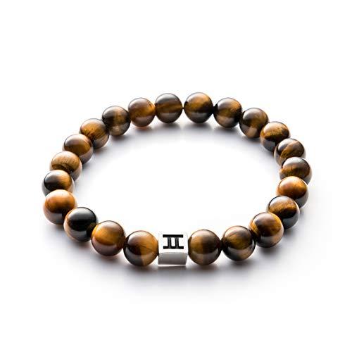 Imagen de gemini pulsera ojo de tigre para hombre  bolas de 8mm con piedras chakras  estas pulseras hombres da energia y suerte  joyas para hombre de piedras naturales también son pulseras unisex
