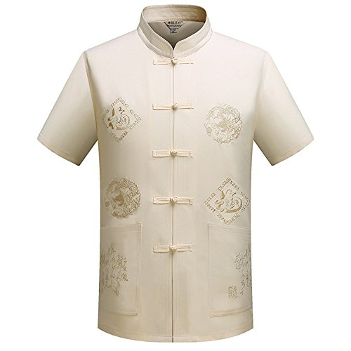 KINDOYO Chinese Traditional Herren Kurzarm mit Dragon Design Tang Anzug Tai Chi Shirt Kung Fu Uniform (Shirt Traditioneller Kurzarm Uniform)