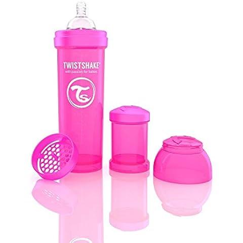 Twistshake Biberón anticólicos con mezclador rosa rosa Talla:330 ml, 11oz