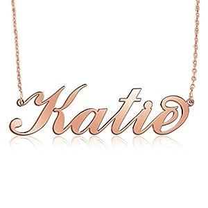 Namenskette Rose Gold aus 750er Roségold überzogenem Silber -Personalisiert mit Ihrem eigenen Wunschnamen!
