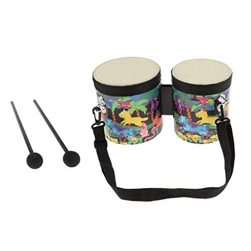 Tubayia Birke Zwei Trommel Bongo-Trommeln Musikinstrument Kinder Pädagogisches Spielzeug