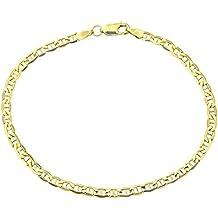 Armband 14 Karat / 585 Gold Italienisch Flach Mariner Gelbgold Armkette Breite 3.10 mm