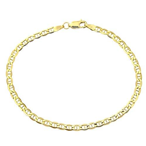 Armband 14 Karat / 585 Gold Italienisch Flach Mariner Gelbgold Armkette Breite 3.10 mm (21)