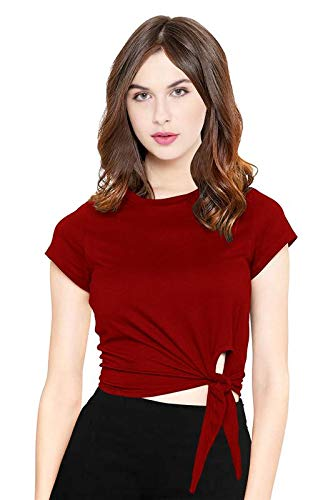 CrazyInk Women Knot Crop Top for Women! _Plain maroom,XS,Crop top | Half Sleevecrop top | Round Neck Women Knot Crop Top | Cotton Blend Crop top | Short Sleeve Crop top