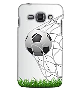 PrintHaat Polycarbonate Designer Back Case Cover for Samsung Galaxy Ace 3 :: Samsung Galaxy Ace 3 S7272 Duos :: Samsung Galaxy Ace 3 3G S7270 :: Samsung Galaxy Ace 3 LTE S7275 (football lover :: soccer player :: football in the ground :: football in the net :: football illusion :: in blue, black, green, white and brown)