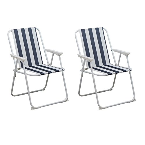 Folding Portable Beach / Camping Deck Chair - Blue Stripe - Pack of 2