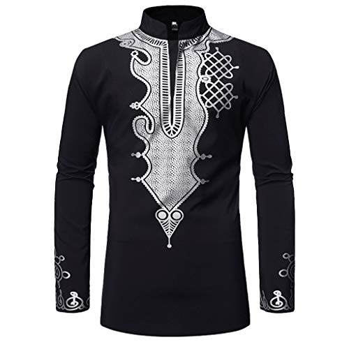 Makefortune  Man Top Shirt, Men's Autumn Winter Luxury African Style Print Stand Collar V Neck Button Casual Long Sleeve Plus Size Dashiki Shirt Top Blouse