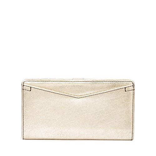 FOSSIL Caroline Slim Bifold Wallet RFID Pale Gold Metallic (Wallet Einfache Bi-fold)