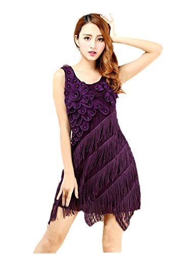 Kostüm Dirty Kleid Dancing (Honeystore 2017 Neuheiten Damen Ärmellos Quasten Swing Rhythmus lateinisches Tanz Kleid mit)