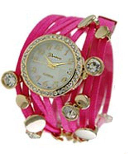 Ginebra tres cuerda Wrap reloj rosa