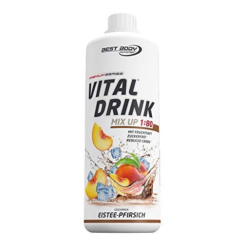 Best Body Nutrition Vital Drink Eistee-Pfirsich, Getränkekonzentrat, 1000 ml Flasche - Essentielle Nährstoffe