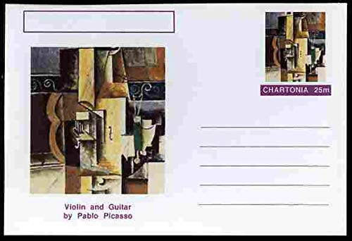 Chartonia (Fantasy) Famous Paintings - Violin and Guitar by Pablo Picasso postal stationery card unused and fine ARTS PICASSO MUSIC JandRStamps