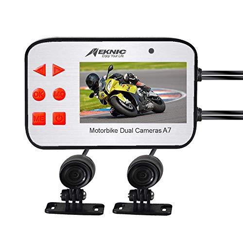 LWTOP Moto Dash Camera, Dual Lens 1080P Video Security Sistema di telecamere Moto con Schermo 2,7 Pollici, Impermeabile G-Sensor