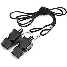 Pinzhi 2x Plástico Negro Silbato Árbitro Con Cordón Accesorio para  Entrenamiento Fútbol b471d61a64a27
