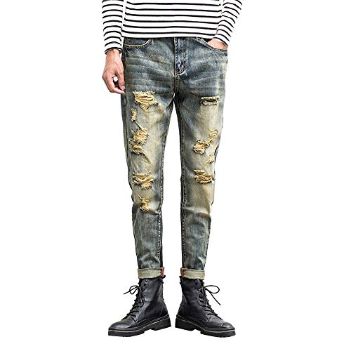 Produp Nostalgic Men Slim Zipper Denim Jeans Skinny ausgefranste Hose Distressed Rip-Hose