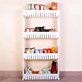 MWMallIndia Plastic 4-Layer Multipurpose Storage Rack with Wheels for Kitchen, Bathroom and Bedroom