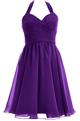 MACloth Women Halter Short Chiffon Bridesmaid Dress Wedding Cocktail Party Gown purple