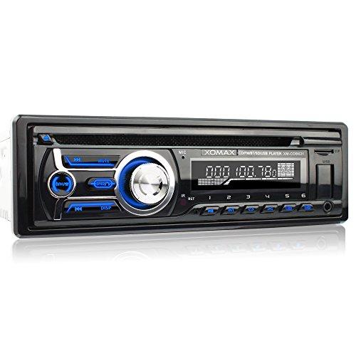 XOMAX XM-CDB621 Autoradio mit CD-Player + Bluetooth-Freisprecheinrichtung & Musikwiedergabe + USB-Anschluss (bis 128 GB) & Micro SD-Kartenslot (bis 128 GB) für MP3 und WMA + AUX-IN + Single-DIN / 1-DIN Standard-Einbaugröße + inkl. Fernbedienung, Blende & Einbaurahmen