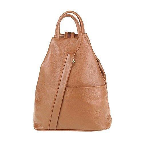 OBC Made in Italy Damen echt Leder Rucksack Lederrucksack Tasche Schultertasche Ledertasche Daypack Backpack Handtasche Nappaleder (Cognac)