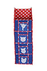 Baby Grow 4 Step Kids Toys Cloth Stoarge Hanging Rack Cute Color Cotton Cupboard (BLUE)