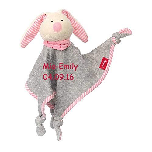 8a1de043b6 Sigikid Schmusetuch Hase Urban rosa mit Namen bestickt Baby Geschenk zur  Geburt Schnuffeltuch