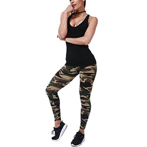 TUDUZ Damen Lang Sport Yoga Leggings Hosen Camouflage Printed Enge Leggings (E)