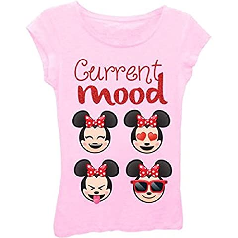 Emoji Minnie Mouse Girls Current Mood Short Puff Sleeve Graphic T-Shirt With Red Glitter (4-5)
