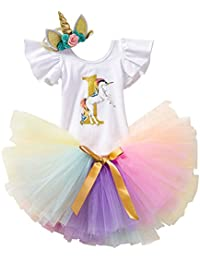 IWEMEK Bebé 1er / 2 ° Cumpleaños Unicornio Niñas Princesa Trajes de Fiesta 3pcs Conjunto de Mameluco + Tutú Falda + Bowknot/Unicornio…