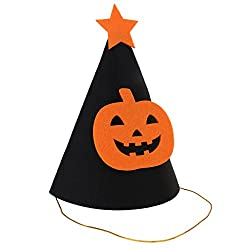 Segolike Halloween Party Felt Cone Hat - Ghost/Pumpkin/Mustache/Spider - pumpkin