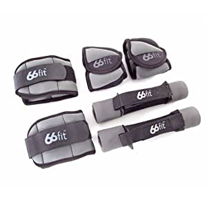 66fit Ankle/Wrist and Dumbbell Weight Set 6 Pieces - Grey/Black