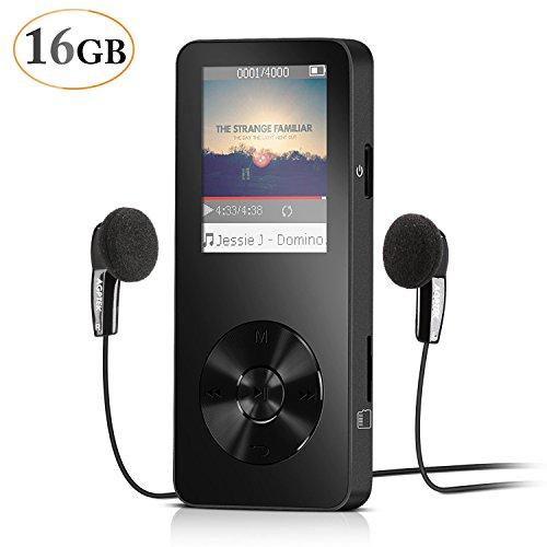 16GB MP3 Player mit Sport Armband unterstützt Video, FM Radio, 32GB Micro SD, von AGPtek, Schwarz (Mp3-player 16gb Schwarz)