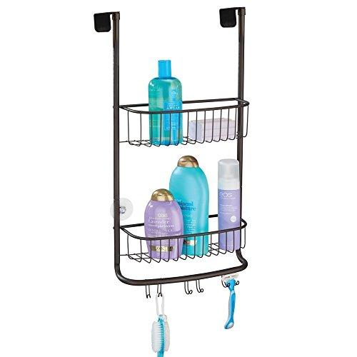 mDesign Duschablage zum Hängen über die Duschtür - praktisches Duschregal ohne Bohren - mit Saugnäpfen - Duschkorb zum Hängen aus Metall für sämtliches Duschzubehör - bronze