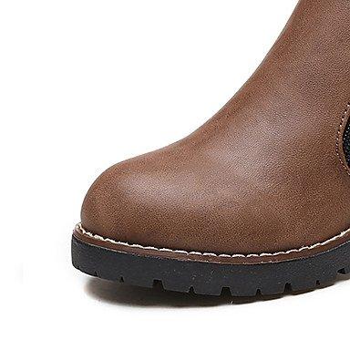 GLL&xuezi Da donna Stivaletti Stivaletti alla caviglia Anfibi Autunno Finta pelle Casual Formale Cerniera Quadrato Nero Cachi 2,5 - 4,5 cm khaki