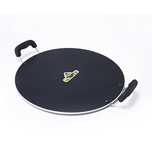 Anjali Platinum Flat Mutli Deluxe Tawa (Only Gas Stove Compatible), Black