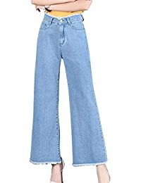 ee6544b569a24 Jeans pour Femmes Large Jambe Haute Large Jambe Ample breal Pantalon Lâche Bouton  avec Poches Jeans