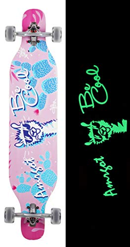 Amrgot Night Light Longborads Skateboards 106,7 cm Complete Drop Down Through Deck Cruise Professional Longboard, Alpaca