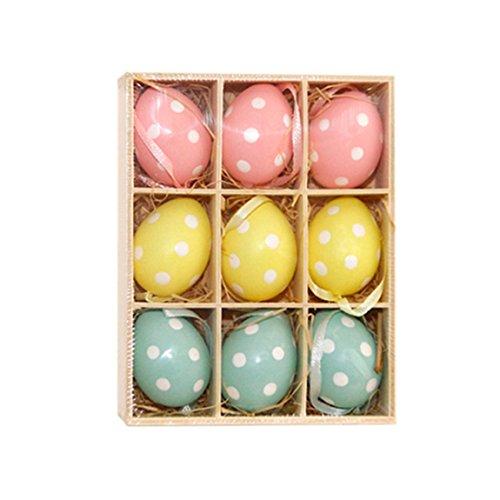 Ostereier 9 Set Bemalte Eier Ostern Kunsthandwerk Dekoration Osterhänger Osterdeko Kinderpielzeug