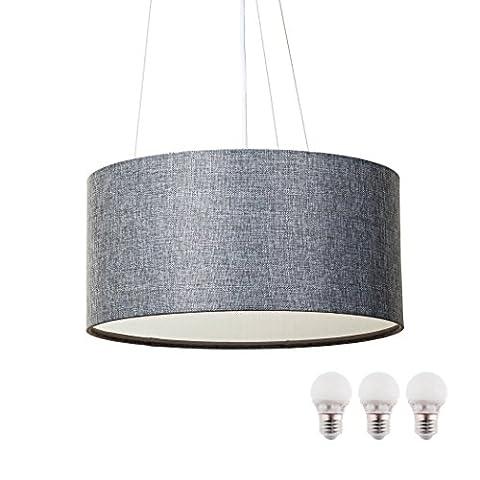 SEBSON Hängelampe grau Textil, inkl. E27 LED Lampe 5W warmweiß, 40cm Durchmesser, Leuchte rund