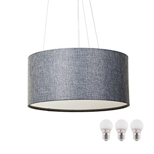 SEBSON® Lampara Colgante techo tela, gris, incl. 3x E27 bombilla 5W LED, Equivale de 35W, Calido Blanca, 400lm