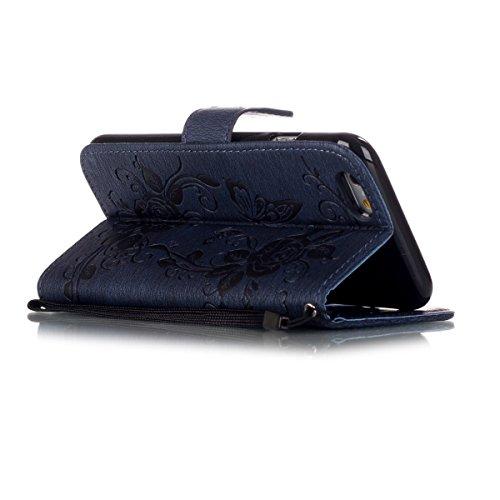 iPhone 6S Plus Hülle Case,iPhone 6 Plus Hülle Case,Gift_Source [Card Slot] [Kickstand Feature] Premium Luxury PU Leder Flower Butterfly Brieftasche Hülle Case Folio Flip Hülle Case Mit Strap für iPhon E01-05-Navy