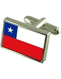 Chile Gemelos de bandera con keepsake grabado caso
