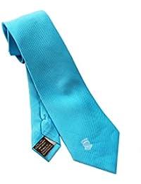 Corbata fabricada a mano, de seda, color azul con escudo de una casa real