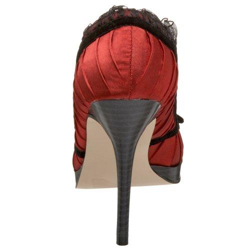 PleaserUSA High Heels Pumps Bliss-38 Red-Blk Satin