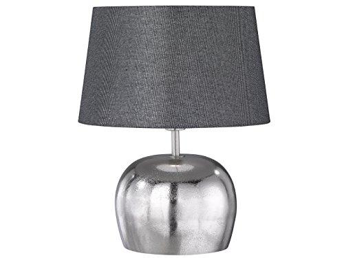 Dekorative Tischleuchte SHINE-ALU 38cm, Stoffschirm in anthrazit silber, E14 Fassung, Fischer-Leuchten