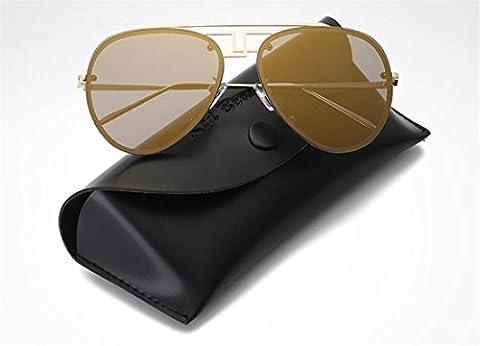 JJH-ENTER Lunettes de soleil Male Ms Fashion Hipster Toad Miroir Retro Big Box Lunettes de soleil , golden